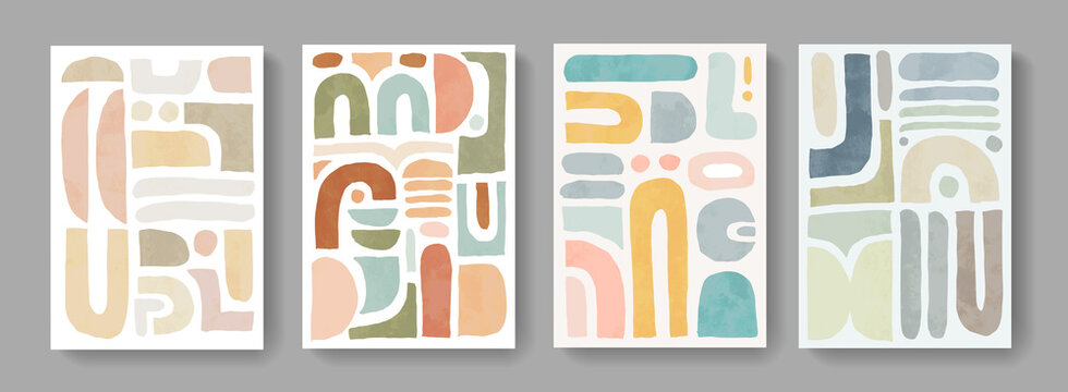 Set of minimalist hand painted posters. Mid century modern illustration. Abstract cover design. Contemporary art.