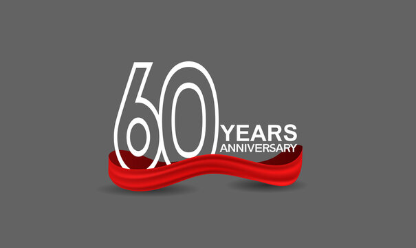60 years anniversary line style white color with red color ribbon isolated on dark grey background can be use for party, invitation and celebration event