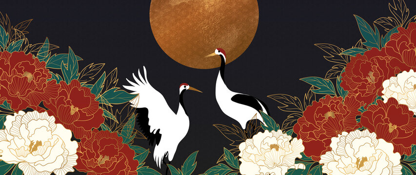 Luxury gold floral oriental style background vector. Flower wallpaper design with peony flower, Sun and Crane. Japanese, Chinese oriental line art with golden texture. Vector illustration.