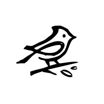 cardinal ink dry brush black logo vector icon illustration