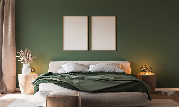 Home interior background, cozy green bedroom with  bright furniture natural wooden tables, modern style, 3d render