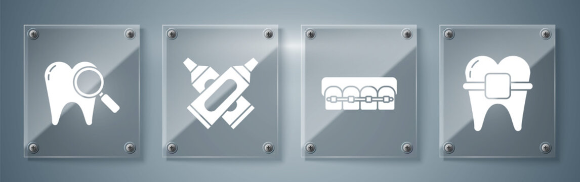 Set Teeth with braces, Teeth with braces, Crossed tube of toothpaste and Dental search. Square glass panels. Vector.