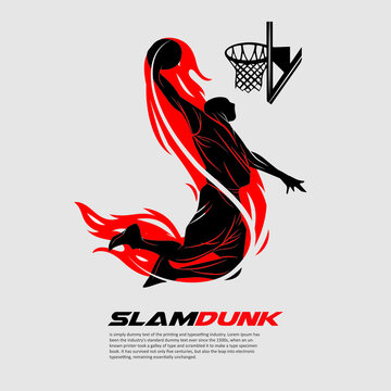 A basketball player doing slamdunk in simple shape. Sport illustration for logo or any graphic resources.