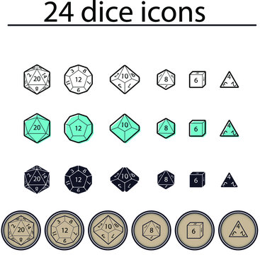 D4, D6, D8, D10, D12, and D20 Dice for Boardgames in Flat