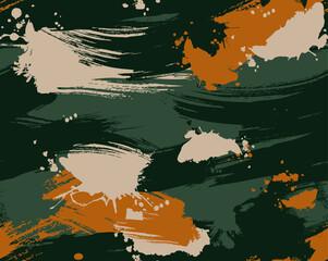 Fototapeta Seamless brushstroke camouflage repeat pattern