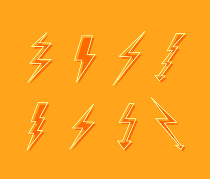 Vector Set of Ligthning Icons, Colorful Yellow Background, Fast Speed Signs, Bright Colors.