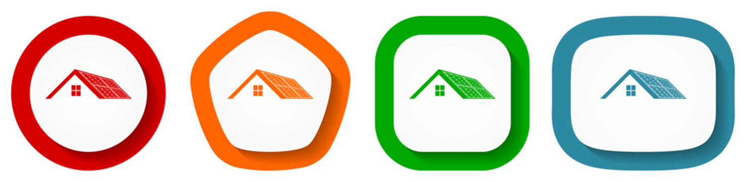 Solar panels on roof of a house, clean energy, power vector icon set, flat design buttons on white background for webdesign and mobile phone applications