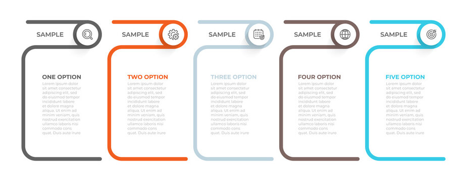 Vector infographic template. Business creative design elements with circle and icons. Can be used for business processes step with 5 options.