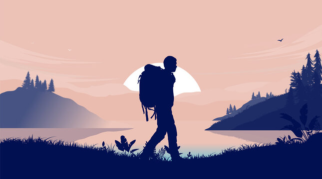 Walking alone in wilderness - Background illustration with backpacker wandering in front of sunrise, lake and nature. Getting away from it all concept. Vector illustration.