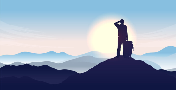Man on top of the world - Silhouette of male person looking to the horizon, watching sunrise and the start of a new day. Hope and opportunity concept. Vector illustration.