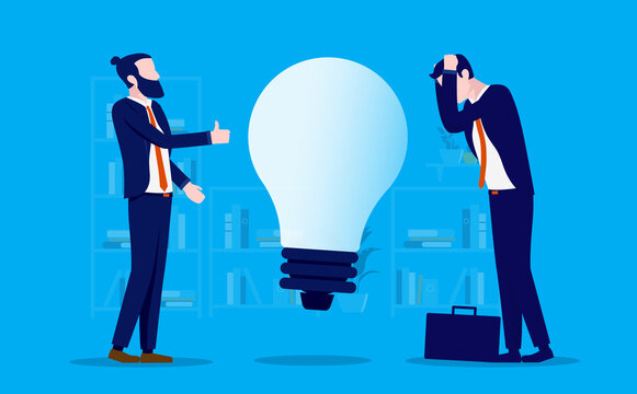 Bad idea - Businessman presenting bad idea to colleague, showing thumbs up, getting unwanted reaction. Vector illustration.