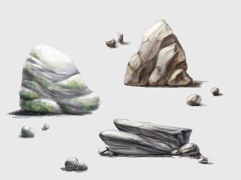 set of stones. Illustration of isolated stones.