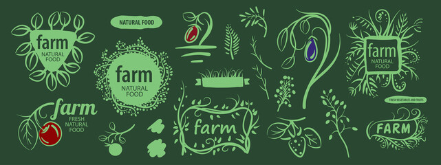 Vector set of corporate design elements for farms and gardens
