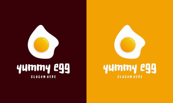 Fresh Fried Egg Logo template designs, Yummy egg logo vector illustration