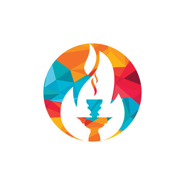 Hookah fire vector logo design. Arabian bar or house, shop vector design template.
