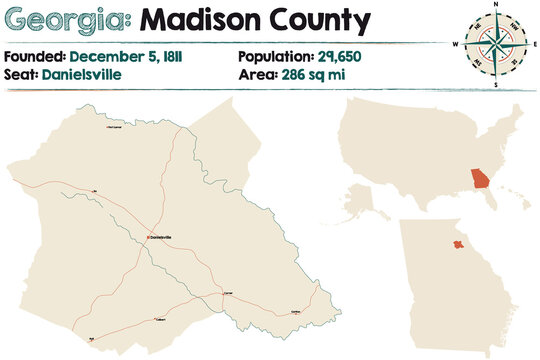 Large and detailed map of Madison county in Georgia, USA.