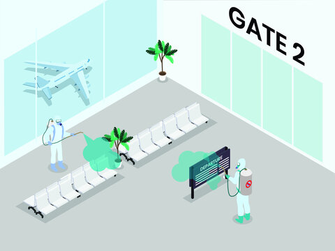 Spraying airport departure and arrival gate with disinfectant 3D isometric vector concept for banner, website, illustration, landing page, flyer, etc