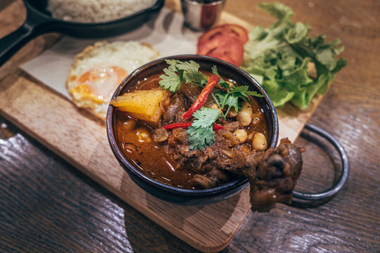 Thai Indian  best dish  Massaman Curry with Chicken and Potatoes is influenced by Malay and Thai Muslim cultures