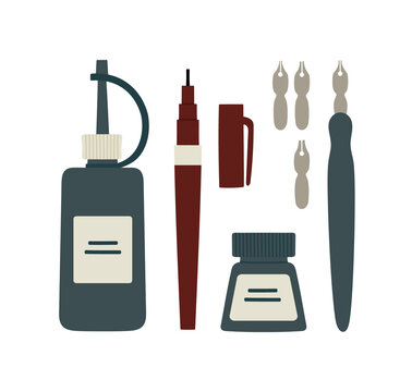 Vector illustration of different art supplies for ink drawing. Ink, pen, rapidograph. Suitable for art tools shops, art courses. Hand-drawn set isolated on white background.