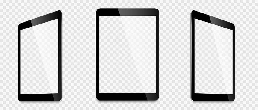 Realistic tablet computer mockup set. Tablet PC realistic mockup front view with shadow. Electronic gadget - stock vector.