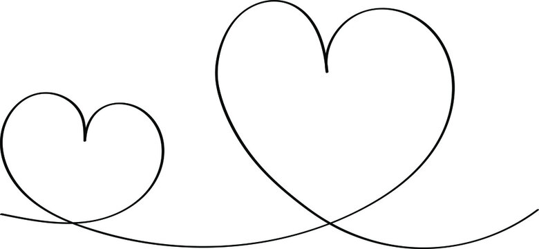 Two hearts are drawn in black outline, romantic icon for Valentine's Day. Love symbol in doodle style, vector for web design.
