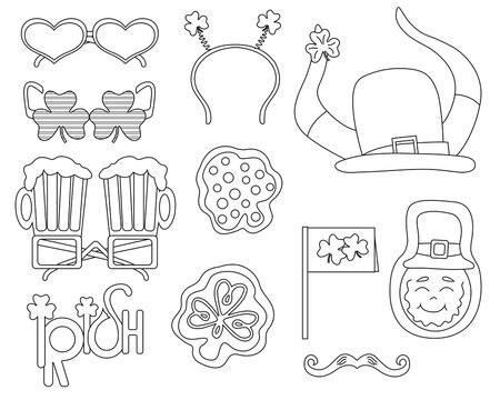 St. Patrick's Day design outline elements set. Coloring page Happy St. Patrick's Day. Vector flat illustration