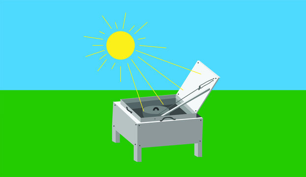 Vector Illustration of a Solar Oven, Solar Cooker, Cooker With Sun