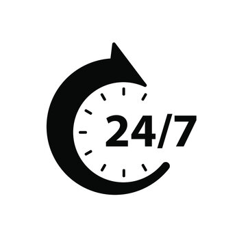 24 7 clock sign on white background