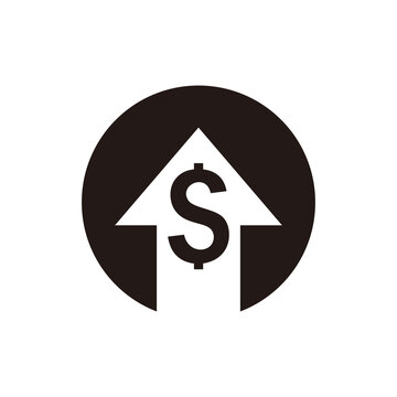 Money increase icon vector. dollar rate increase icon. Money symbol with stretching arrow up. rising prices.