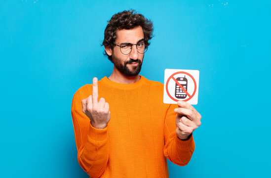 young bearded man forbidden phone concept