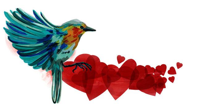 Ilustración de pájaro (petirrojo) con patrón de corazones (textura de acuarela transparente). Ilustración para el día de San Valentín, cumpleaños o boda con espacio para texto