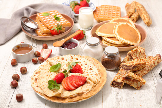 assorted of crepe, waffle and pancake