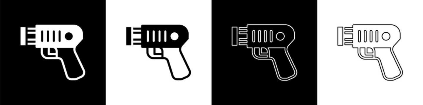 Set Police electric shocker icon isolated on black and white background. Shocker for protection. Taser is an electric weapon. Vector.