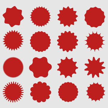 Red shopping labels collection. Sale or discount sticker. Special offer price tag. Supermarket promotional badge. Vector sunburst icon.
