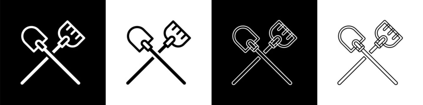 Set Shovel icon isolated on black and white background. Gardening tool. Tool for horticulture, agriculture, farming. Vector.