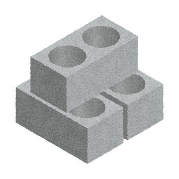 Isometric cinder blocks isolated on white background. Gray bricks. Concrete building blocks icon. Construction. Flat 3d isometric vector cement blocks icon illustration.