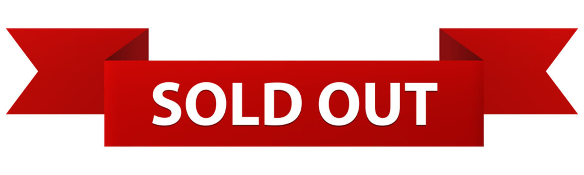 Sold Out red ribbon banner icon isolated on white background. Sold Out notice label.