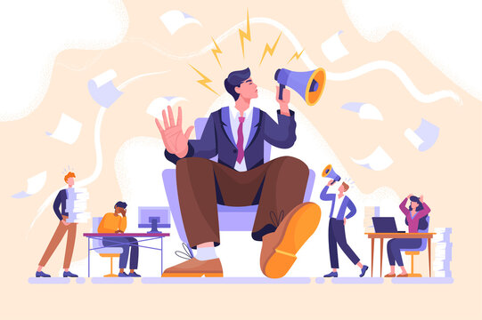 Arrogance or selfish management concept. Bossy manager doesnt listen to subordinates opinion. People shout out for haughty boss sitting in chair with megaphone. Flat cartoon vector illustration