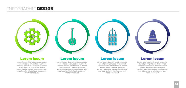 Set Revolver cylinder, Banjo, Detonate dynamite bomb stick and Mexican sombrero hat. Business infographic template. Vector.
