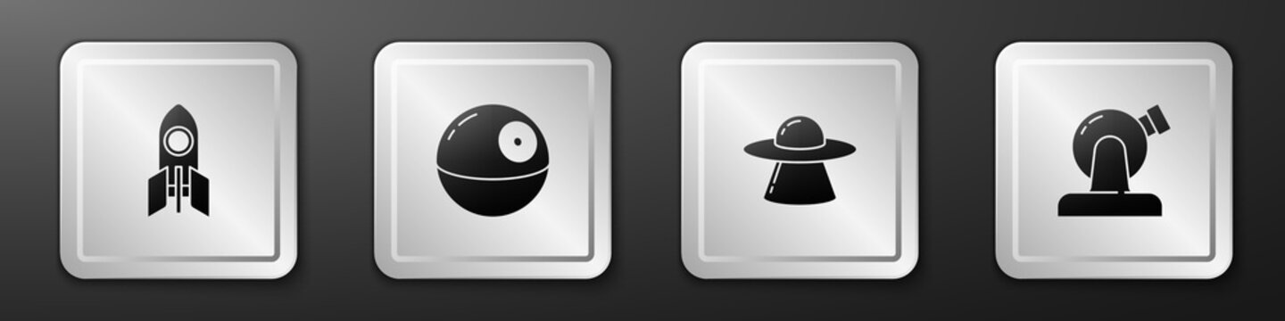 Set Rocket ship, Death star, UFO flying spaceship and Astronomical observatory icon. Silver square button. Vector.