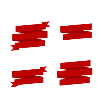 This is a vector of red ribbons. Set of red tape isolated on with background. Could be used for flyers, banners, postcards, holiday decorations.