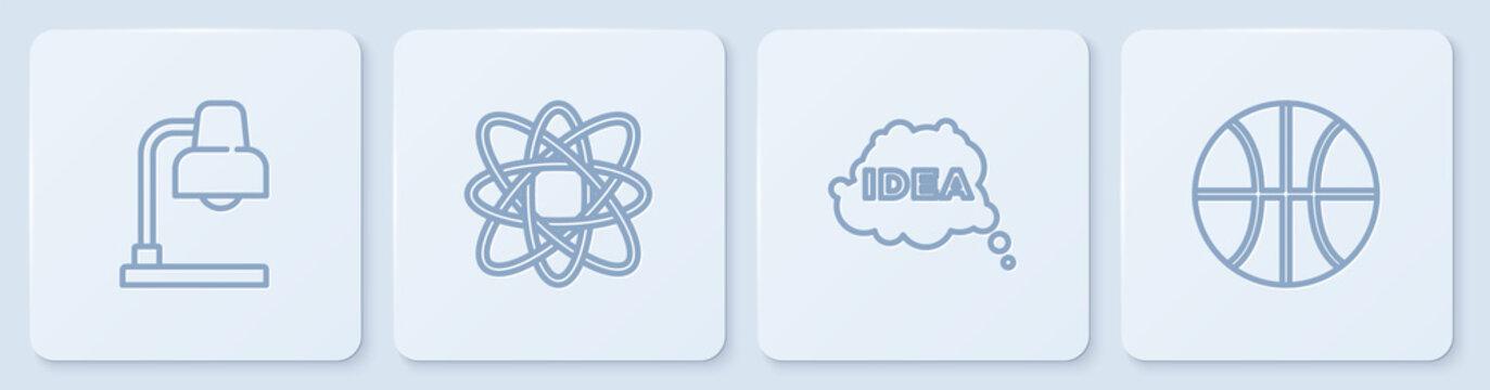 Set line Table lamp, Idea, speech bubble, Atom and Basketball ball. White square button. Vector.