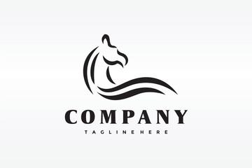 Fototapeta simple outline horse logo