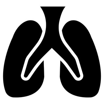 Solid design icon of lungs, respiratory organ