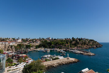Wall Murals Turkey View to the city port, boats and empty blue sky