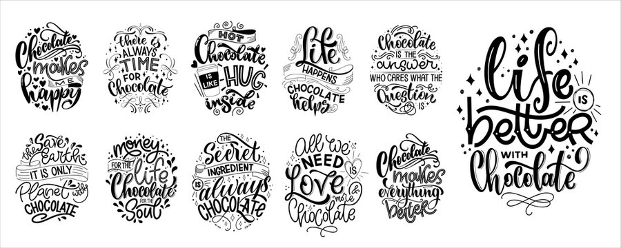Chocolate hand lettering quotes set. Warm winter word composition. Vector design elements for t-shirts, bags, posters, cards, stickers and menu