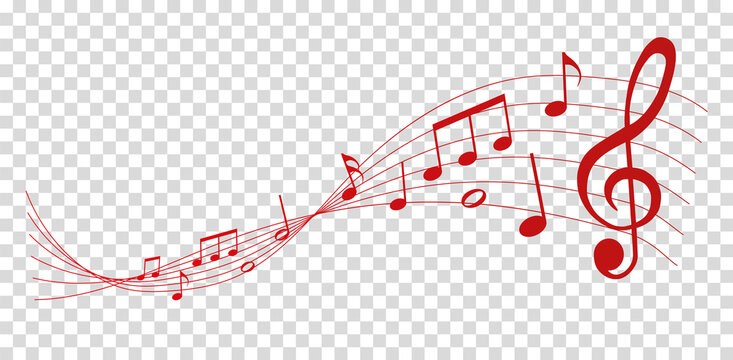 vector sheet music - red musical notes melody on transparent background
