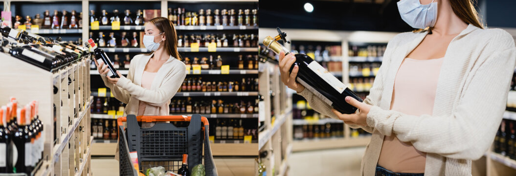 Collage of young woman in medical mask holding bottle of wine near shopping cart in supermarket, banner