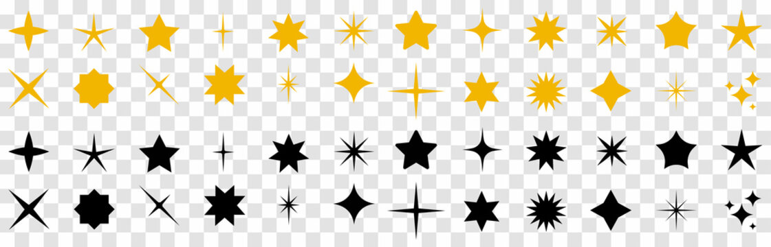 Stars collection. Stars set icons.Golden and Black set of Stars. Rating star signs collection – stock vector. Vector illustration.
