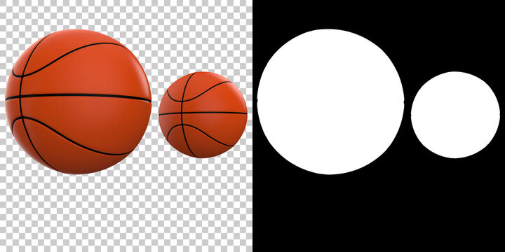Basketball balls isolated on background with mask. 3d rendering- illustration